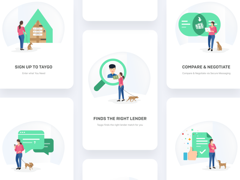 Taygo Onboarding Illustrations home financial flat icon website ui marketing taygo lenders home loan cards character brand identity design vector clean ux onboarding branding illustration