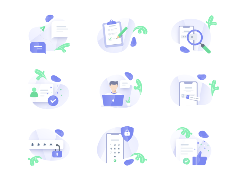 Icon Illustrations onboarding website ui character web product logo interface app gradient vector design clean illustration icon