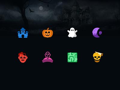 Halloween Spooky Icons! halloween zombie hay rides ghost dead illustration icons maze skull creepy dark haunted house scary spooky