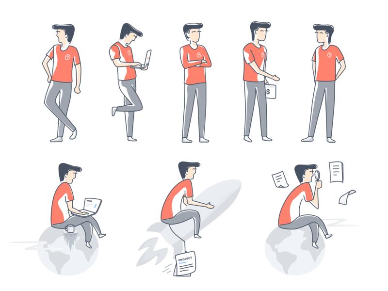 Character Illustrations 2d app rocket search laptop money project time flat vector line art web clean design avatar art character illustration
