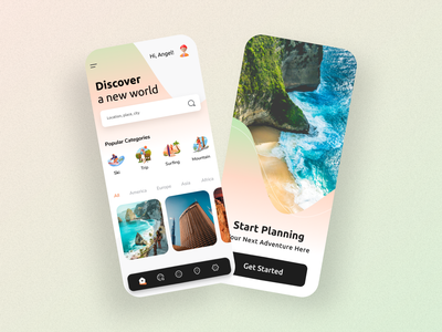 Travel App Design trend trip planner mobile ui minimal clean trips discover app design app hotels tourism colorfull ux ui booking travelling tours vacation trip travel