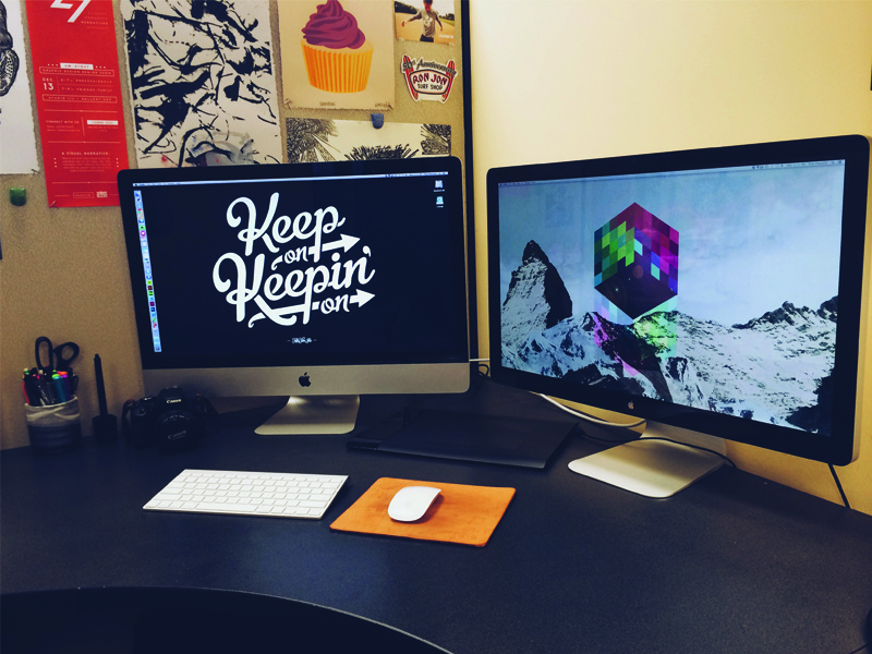 Everyone loves a workspace shot desk office workspace apple imac thunderbolt display wacom tablet canon desktop computer ugmonk