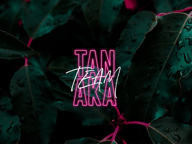 #TeamTanaka tropical script neon design typography fundraiser