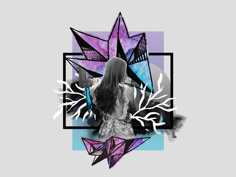 Cosmic Crystals Collage // Alayna watercolor illustration graphic geometric design geometric design crystals cosmic collages collage art collage