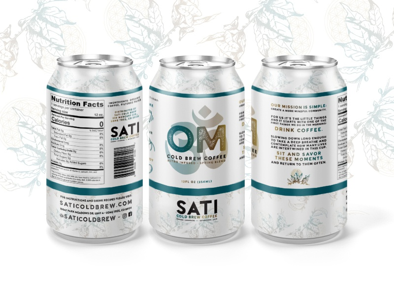 OM // by Sati Cold Brew branding typography packaging design om mockup can coffee design packaging