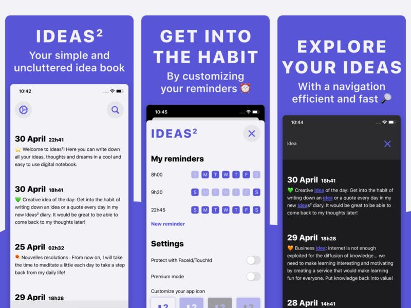 Ideas² - Your idea book on the AppStore ios app habit screens appstore journal book ideas