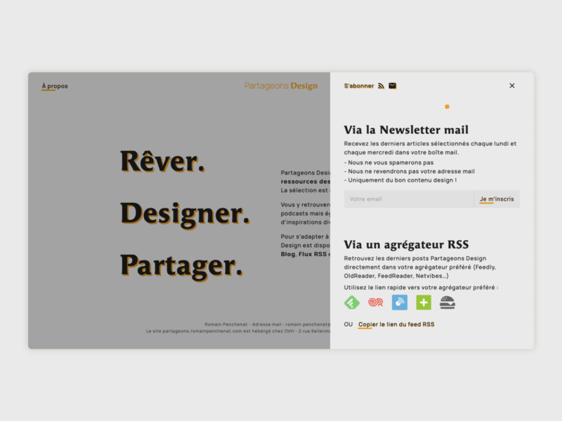Partageons Design - Subscribe popup rss newsletter popup subscribe blog platform design partageons