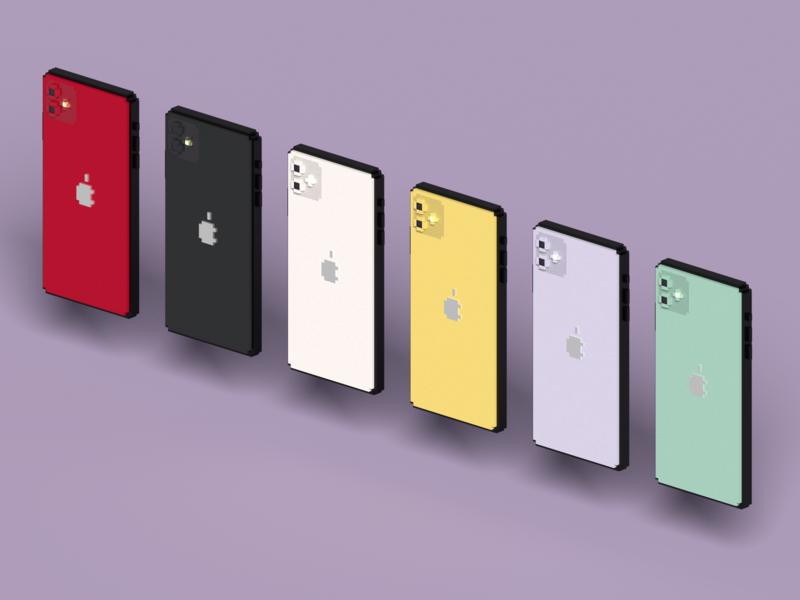 Isometric iPhone 11 in VoxelArt apple isometric art voxel iphone