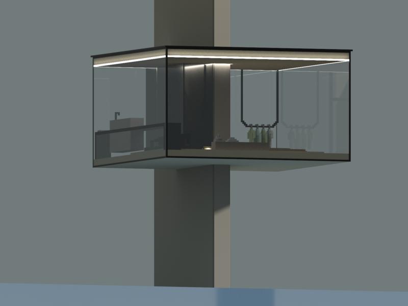 Minimalist flat floating over the sea | VoxelArt illustration architecture minimalist appartment flat voxelart