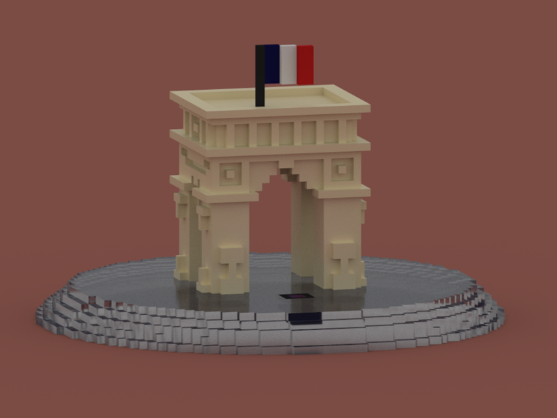 """Arc de Triomphe de l'étoile""  in VoxelArt - Paris, France architecture monument france paris voxelart art voxel triumph arc arc de triomphe"