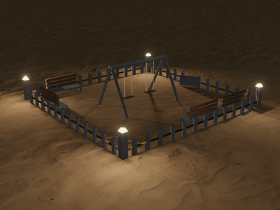 3D Park modeling in Blender sand park blender modeling