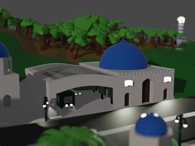 Santorini inspired city - Train station 🚊 island station train city greck santorini low poly modeling 3d