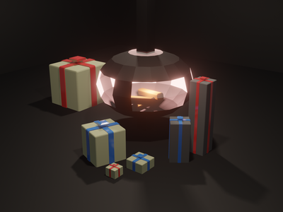 #Lowpoly Christmas chimney - #30DaysOf3D challenge presents 30days challenge chimney christmas 3d low poly