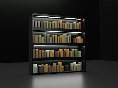 #LowPoly Bookcase - 3D in Blender rendering modeling 3d books bookcase low poly blender