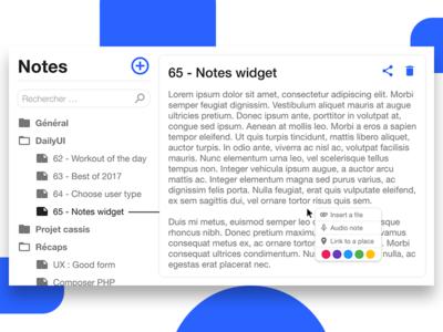 #DailyUI 65 - Notes Widget