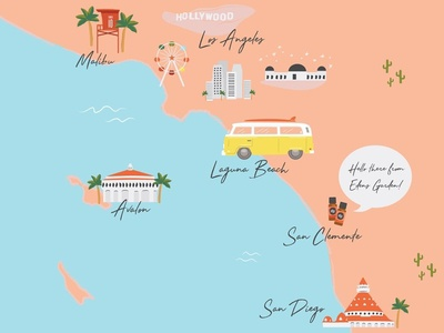 Illustration Concept for a Laid Back Californian Company vector essential oils california map illustrator illustration