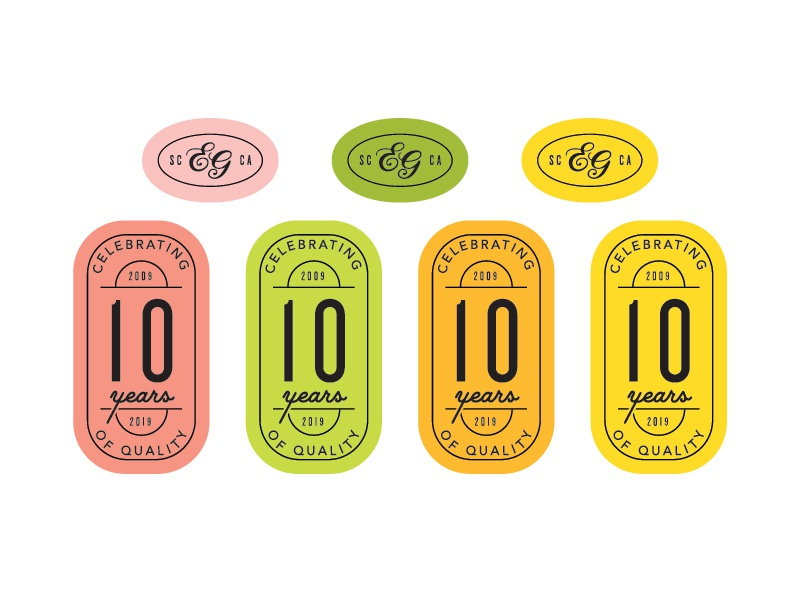 10 Year Anniversary Campaign Seals anniversary summer logotype logo logodesign stamp seal typography