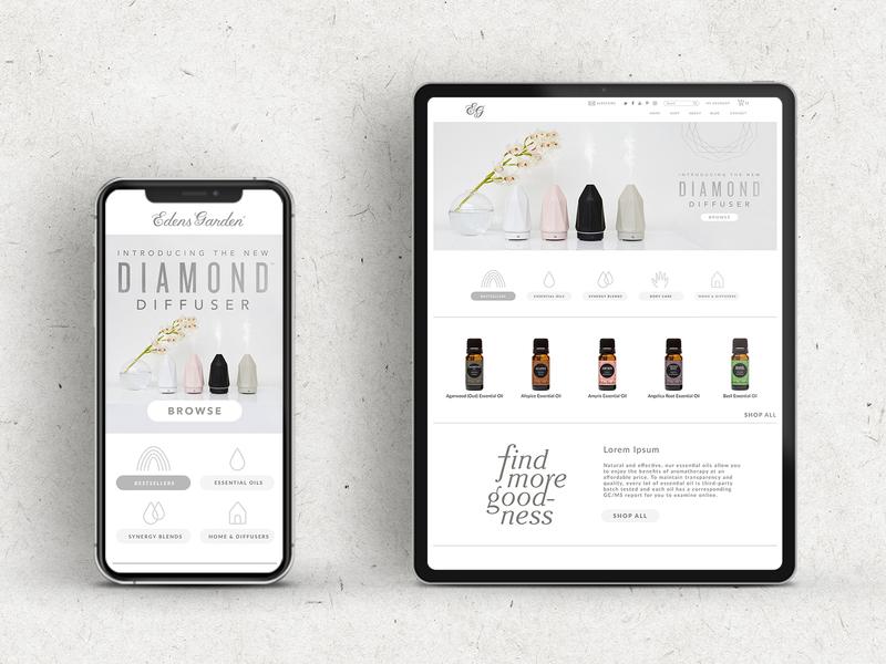 Home Page Redesign website app web ux ui design essential oils vector illustration