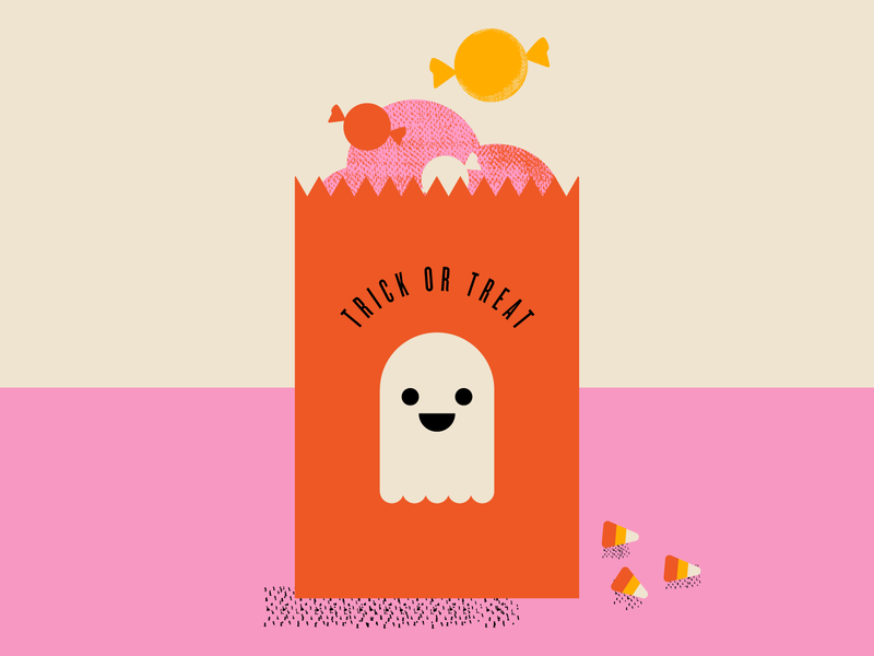 This Year's Candy Haul ghost trick-or-treat halloween candy vector illustrator illustration