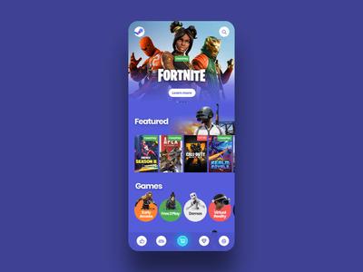 Steam App Concept mobile design mobile app app  design app designer gaming animated application clean fortnite game motion steam flat animation vector concept ux ui design app