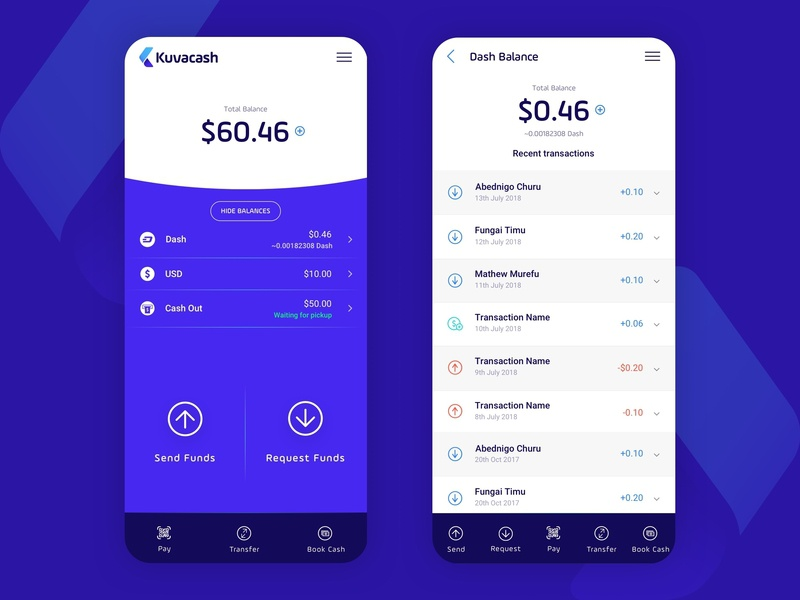 Kuvacash App transactions flat mobile finance app finance crypto exchange crypto currency crypto wallet crypto design mobile app ui ux