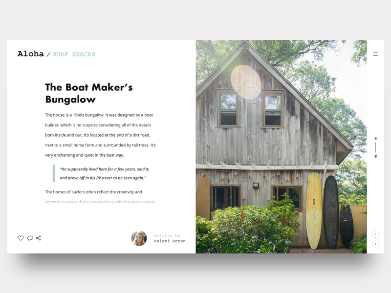 Surfer's Shack - Blog Post social share whitespace minimal surf article blog blog post daily ui 035 daily ui dailyui