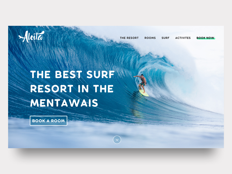 Surf Resort - Home Page cta hero accommodation hospitality hotel booking landing page surf