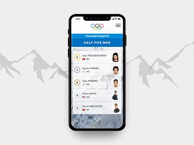 Olympics - Leaderboard sports ui mobile leaderboard 019 dailyui019