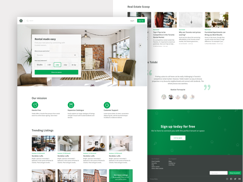 Apartment Rental article ui ui  ux home made home page airbnb web  design green toronto rental app housing