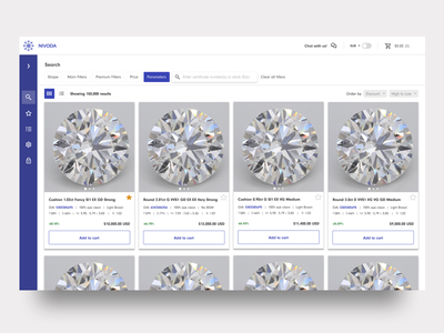 Nivoda search page add to cart ecommerce app b2b whitespace product design diamonds grid view filters search