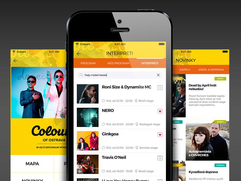 Music festival app program bands ui events festival music app