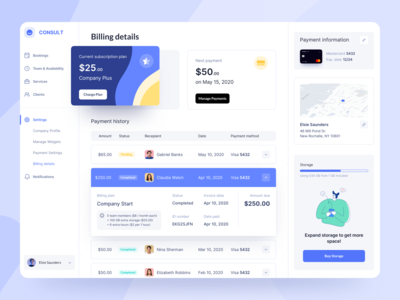 Billing Dashboard bills invoice clean payment subscription finance fintech billing dashboad website design web design web