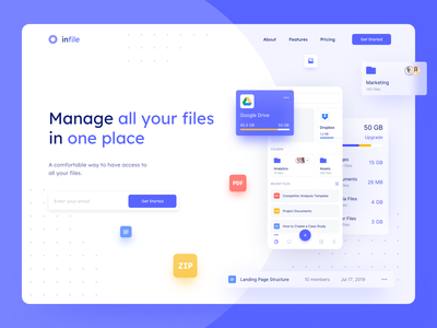 File Manager Landing Page cloud clean heading folders files google drive dropbox storage main page marketing landing website design web design web