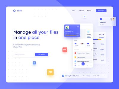File Manager Landing Page cloud clean heading folders files google drive dropbox storage main page marketing landing website design web design web