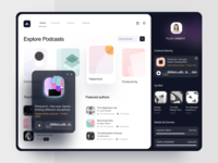 Podcast Platform music ui ugem web app web design website web clean lessons light explore collection audio podcast pattern player podcasts meditation