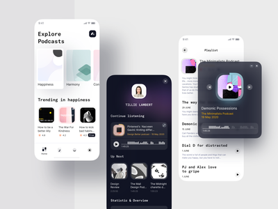 Podcast Platform Mobile learning podcasts player pattern podcast audio collection explore light lessons mobile ui music