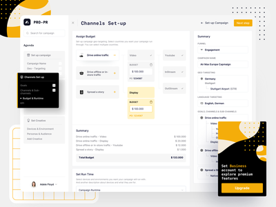 PR Campaign setup tool pattern agenda budget summary fintech finance dashboad clean campaign webdesign website web
