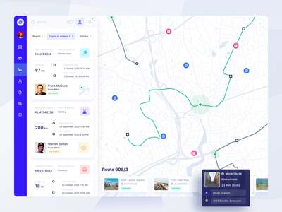 Shipping Service product desktop location tracker tracking ui filters orders transport route service navigation map location cargo web design logistics shipping delivery web dashboard