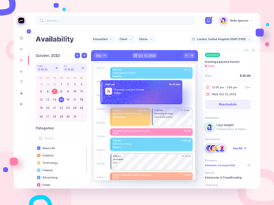 Calendar for scheduling consultations timeline dashboad planning meeting calender agenda schedule consultation calendar events available ui website desktop web