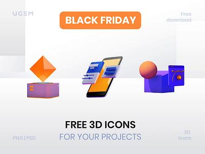 3D Icons Freebie psd illustration concept black friday sale c4d cinema4d 3d icons free