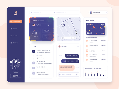 Driving Management Dashboard card ux ui creative concept dailyui sketch minimal driver route clean website design web design web dashboard