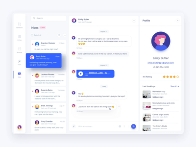 Inbox Light & Dark dailyui concept ui website design web design webdesign web clean minimalistic dashboard messages chat mail inbox