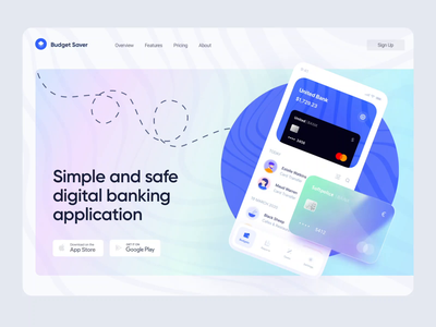 Digital Banking App Landing Hero Section banking screens motion wawes web website website design web design landing hero section hero banner minimalistic concept dailyui animation landing page landingpage aftereffects homepage mainpage