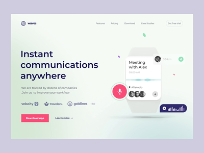 Communication App Hero Landing Section wawes sound apple watch web website website design web design landing hero section hero banner animation minimalistic concept dailyui landingpage landing page aftereffects home page main page