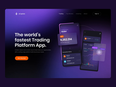 Trading App Landing Hero Section animated glass trading motion web website website design web design hero secrion hero banner animation minimalistic concept daily ui landing page landing landingpage aftereffects home page main page