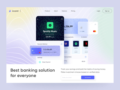 Banking App Landing Hero Section cards banking wawes motion web website website design web design landing hero section hero banner animation minimalistic concept dailyui landing page landingpage aftereffects home page main page