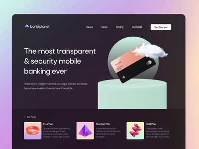 Fintech App Landing Hero Section cards banking motion fintech web website website design web design landing hero section hero banner animation minimalistic concept dailyui landingpage landing page aftereffects home page main page