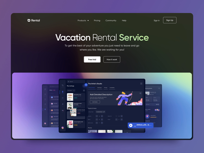 Vacation Rental Service Landing Animation screens renting rental motion web website website design web design landing hero section hero banner animation minimalistic concept dailyui landingpage landing page aftereffects homepage main page