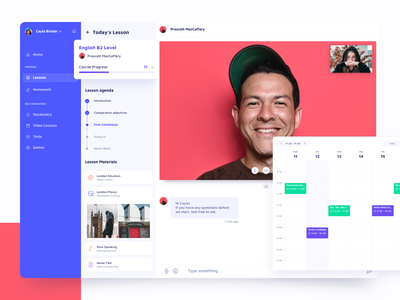 Language Learning Service calendar ugem education learning languages video profile chat ux ui platform interface