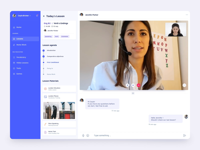 Video Language Learning Service Interaction dashboard ugem interaction calendar education learning languages video profile chat ux ui platform interface